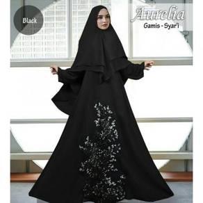 Muslimah long sleeve Aurelia Syari dress blue red