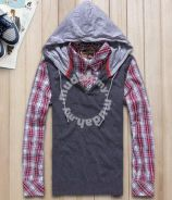 J0511 [2-In-1] Smart Hoodie T-Shirt Lengan Panjang