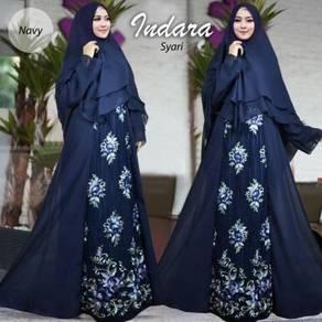 Muslimah long sleeve Indara Syari dress blue peach