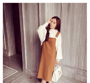 Plus size loose brown white long sleeve dress