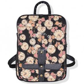 England Classic Clock Flowers Bag Casual Backpack
