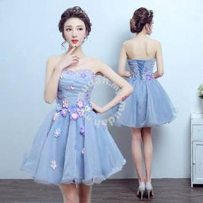 Blue photoshoot bridesmaid wedding dress RB0672