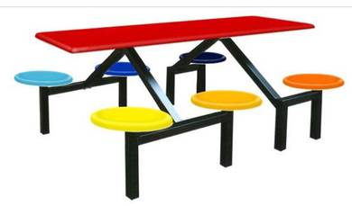 6 seater Canteen FoodCourt Fiberglass Table Bench