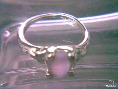 ABRSB-P011 Cat Eye Lt Purple Bead Silver Ring S6.5