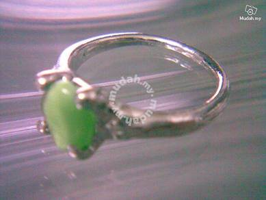 ABRSB-G006 Cat Eye Green Bead Silver Ring Size 6.5