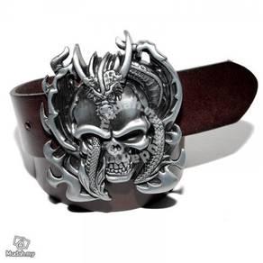 Smooth skull belt buckle mens casual genuine leath