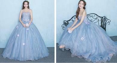 Blue ball wedding bridal prom dress gown RB0670