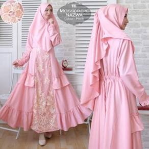 Muslimah long sleeve dress tudung Nazwa syari pink