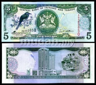 Trinidad n tobago 5 dollar 2002 p 42 unc