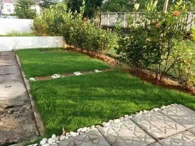 Lanskap laman rumah dan rumput