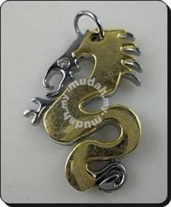 ABPSS-D010 Stainless Steel Silver Yellow 3D Dragon