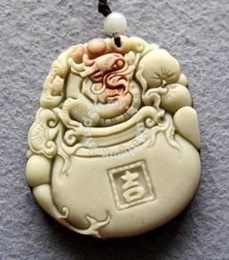 ABPJ-D013 Zipao Jade Dragon JI Jar Peach Bat Neckl