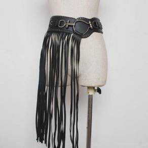Black Punk rock fringes belt rave party