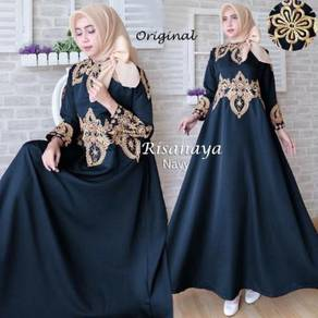 Muslimah long sleeve dress Risanaya blue green