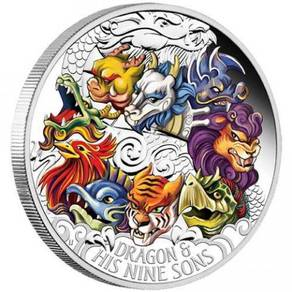Dragon & His 9 Sons 2015 5oz Silver Proof Coloured