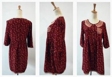 Retro Vintage dots long sleeve elegant top dress