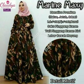 Muslimah long sleeve dress marine maxy camo army