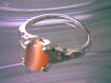 ABRSB-B009 Cat Eye Lt Brown Bead Silver Ring S6.75